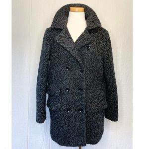 SOIA AND KYO Grey Wool Boucle Cocoon Coat